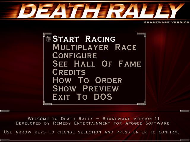 Death Rally Startbildschirm