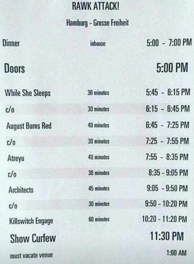 Zeitplan der Veranstaltung