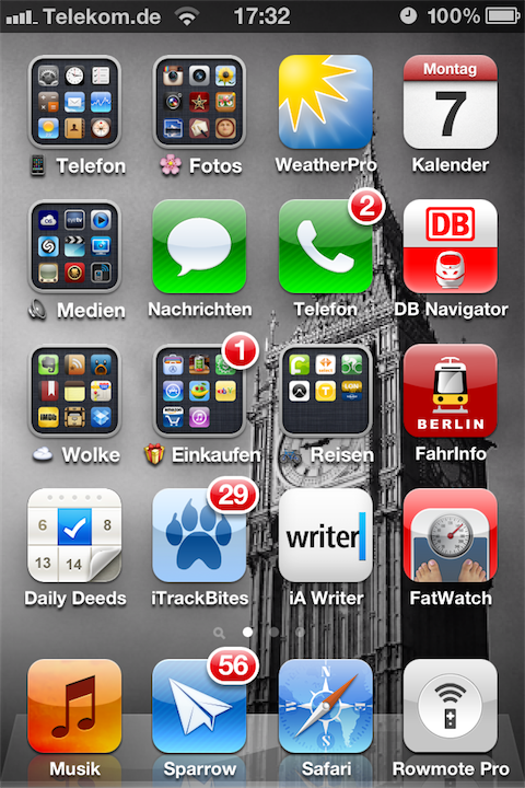 Homescreen in iOS 6